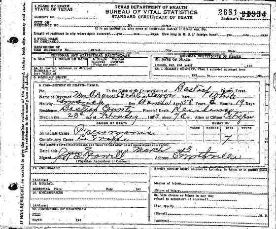 Sawyer Death Certificates